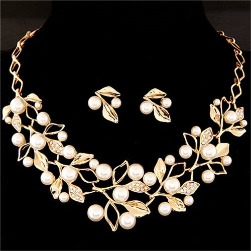 Elegant Simulated Pearl Bridal Jewelry Sets Wedding Jewelry Leaf Crystal Gold  Silver Color Necklaces Earrings Sets Women