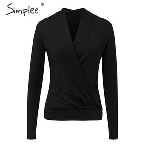 Simplee V neck office ladies blouses shirts Long sleeve autumn winter female white tops Sexy party club slim women blouse 2019