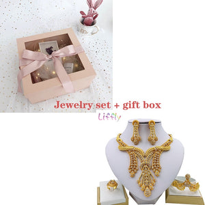 LIFFLY Dubai Jewelry Sets Big Necklace Classic Water Drop Shape Bracelet Earrings Ring for Women Wedding Jewelry Sets for Bride