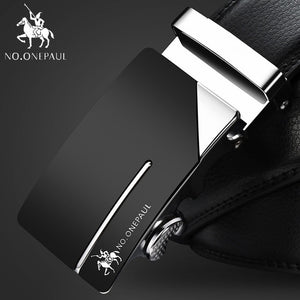 NO.ONEPAUL Brand Fashion Automatic Buckle Black Genuine Leather Belt Men's Belts Cow Leather Belts for Men 3.5cm Width WQE789