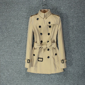 British windbreaker female short temperament slim popular khaki double-breasted coat