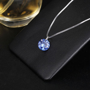 2019 New mermaid tear necklace Meteorite pendant transparent fishing line Invisible women's necklace Jewelry clavicle chain