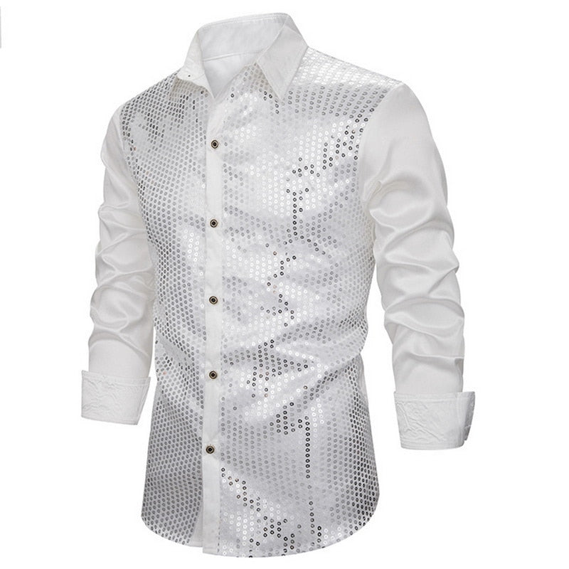DIHOPE Men's Luxury Sequin Glitter Shirts New Long Sleeve Silk Satin Shiny Disco Party Shirt Men top Stage Dance Prom Costume