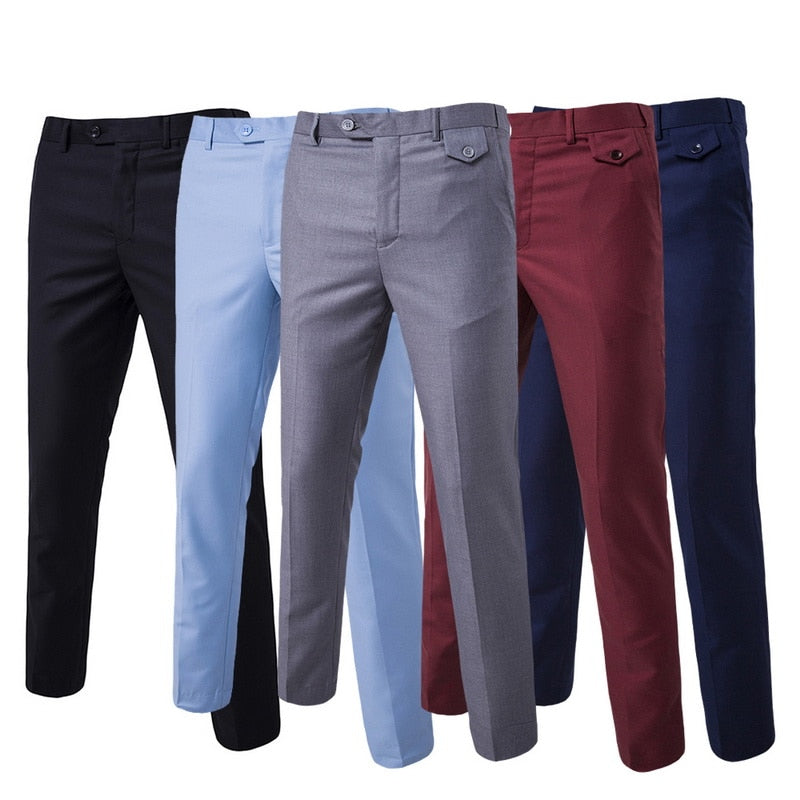 2020 New Spring Men Fashion Cotton Solid Color Business Suit Pants / Men Groom Wedding Dress Suit Pants Mens Trousers