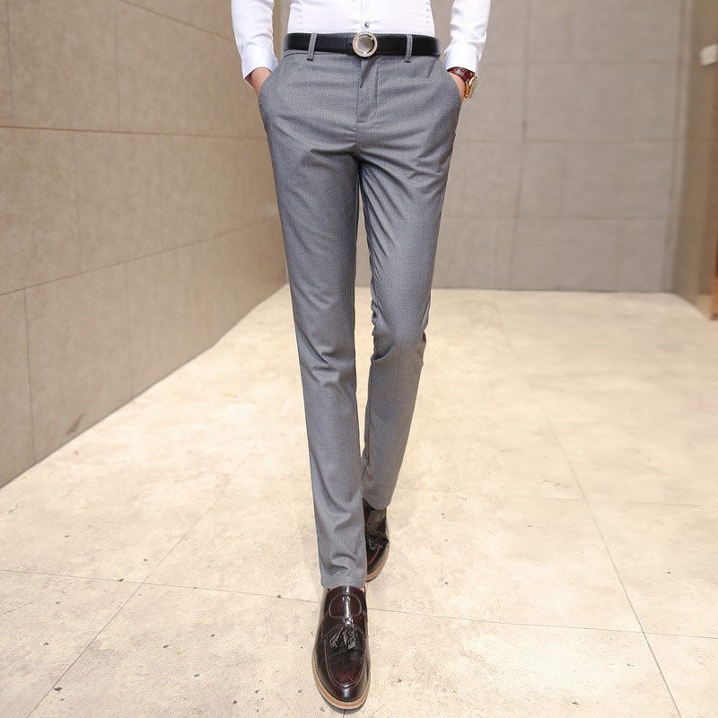 2020 New Men's Fashionable Fine Quality Comfortable Pure Color Business Casual Pants / Men Slim Slacks Male Leisure Trousers