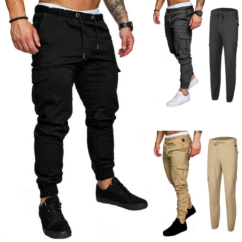 Autumn Men Joggers Pants Solid Cargo Pants Men Sweatpants Male Multi-pocket Trousers Black Men's Sportswear Hip Hop Harem Pants