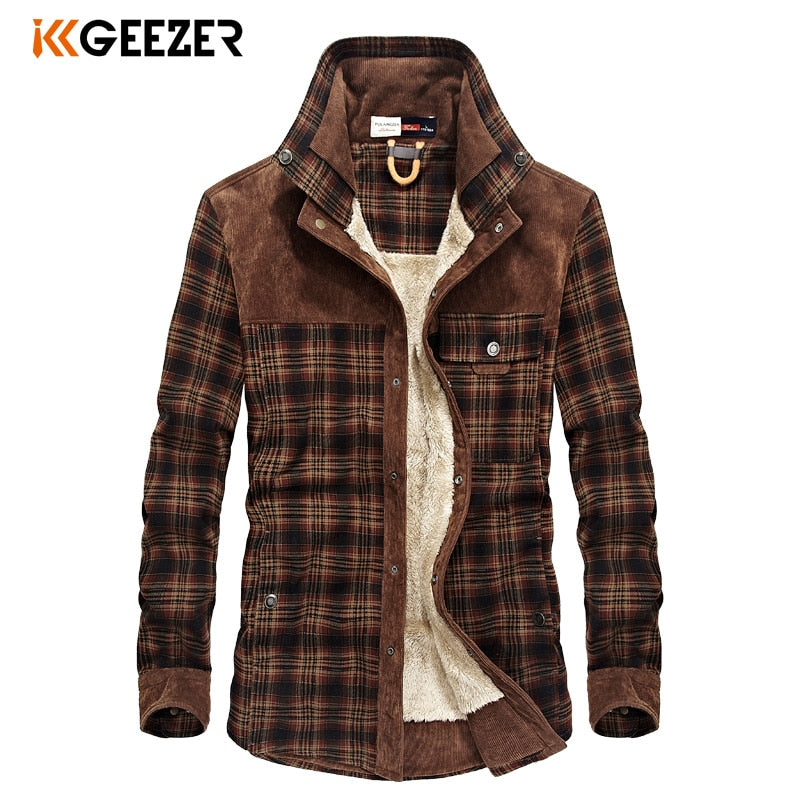 Military Plaid Flannel Men Shirt Male Jacket Winter Warm Fleece Thick Coat Cotton High Quality Pocket Loose Shirts Dropshipping