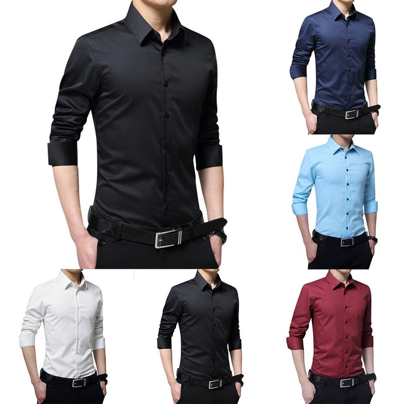2019 New Fashion Men's Long Sleeve Casual Shirt Slim Solid Business Dress Shirt Spring Autumn Men's Dress Shirt Camisa Masculina