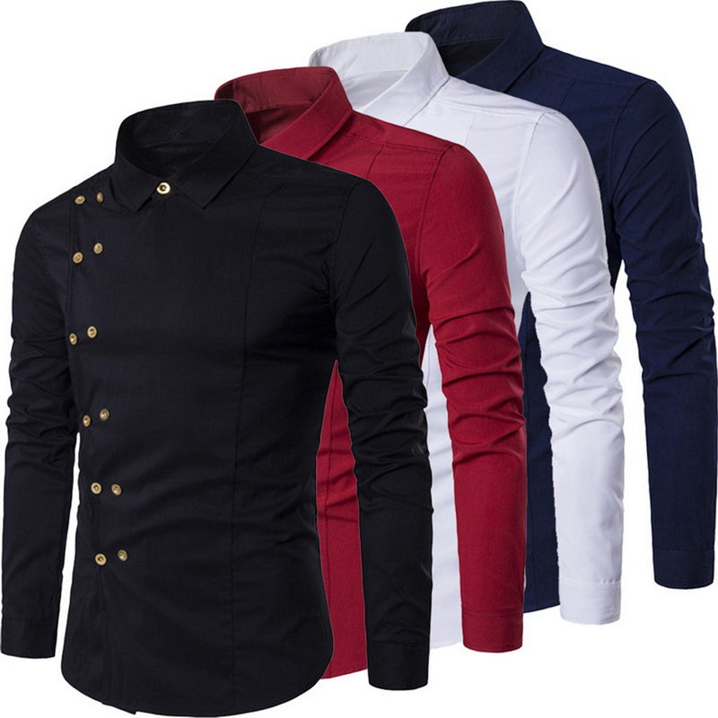 Plus Size Men Double Breasted Slim Fit Long Sleeve Shirt Men Turn Down Collar Shirt Male Vintage Court Style Camisas Masculina