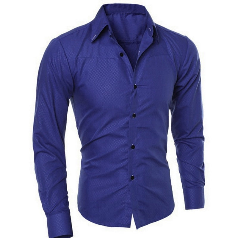 Men Casual Shirts 2020 spring New Fashion Solid Color Man Sleeve Cotton Slim Fit Casual Business Button Shirt Tops