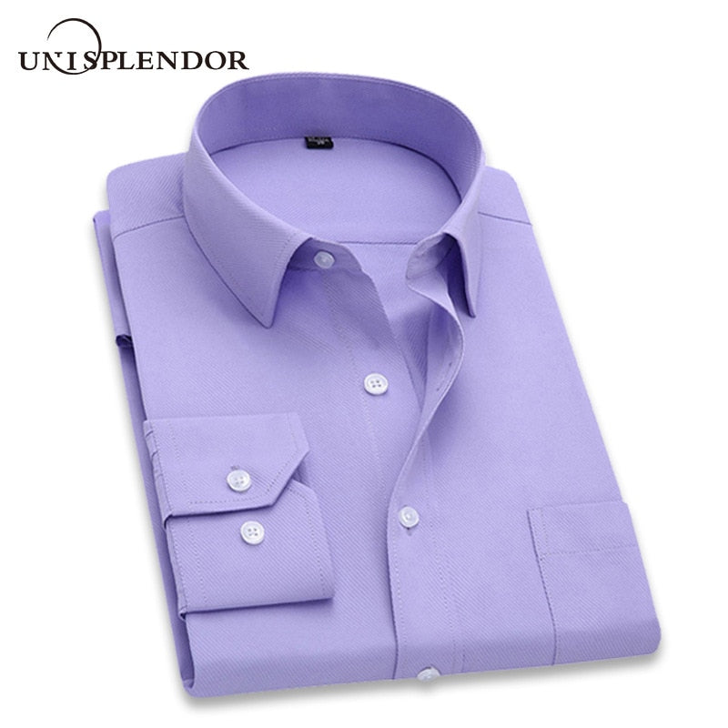 2020 Men Dress Shirt Long Sleeve Slim Brand Man Shirts Designer High Quality Solid Male Clothing Fit Business Shirts 4XL YN045