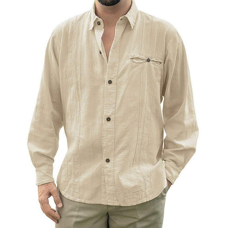 Sfit 2020 Mens Loose Fit Cuban Camp Guayabera Linen Long Sleeve Soild Shirts Casual Button  Down Beach Breathable Shirts