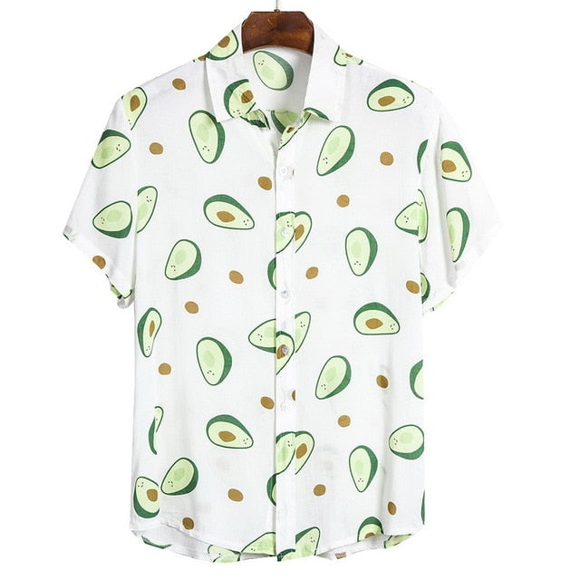 2020 Summer Mens Short Sleeve Beach Hawaiian Shirts Cotton Floral  Printed Loose Shirts  Plus Size 3XL Mens Clothing Tee Tops