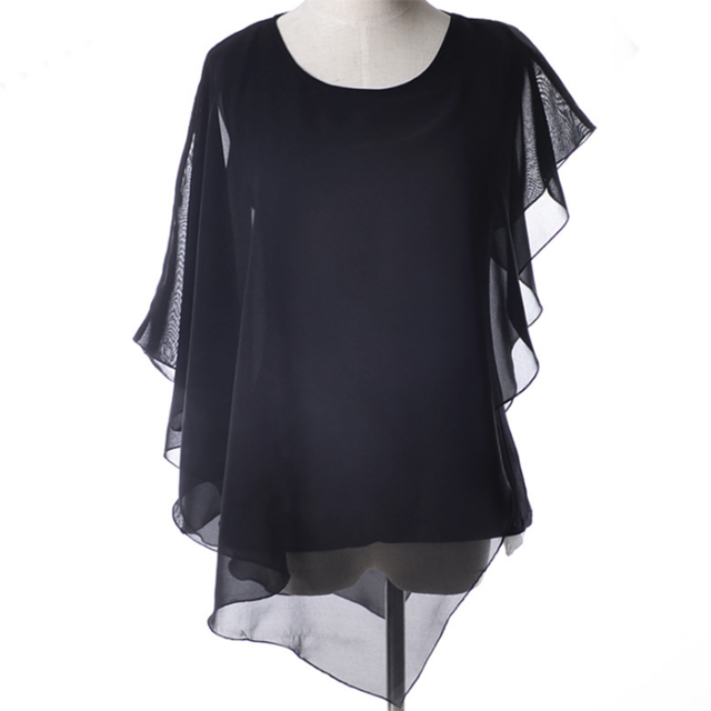 Chiffon Tops White Cool Women Blouses Black Casual 2019 Loose Color Batwing Summer Solid o neck Sleeve Shirts Tees Style Ruffles