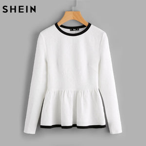 SHEIN Contrast Binding Textured Peplum Shirt  White Women Tops Blouses Autumn Long Sleeve Elegant Fall 2017 Fashion Blouse