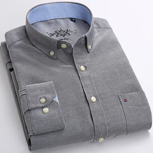 Mens Long Sleeve Solid Oxford Dress Shirt with Left Chest Pocket High-quality Male Casual Regular-fit Tops Button Down Shirts