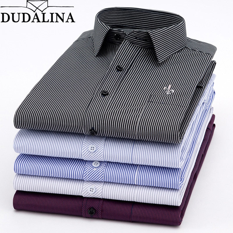 Dudalina New 2019 Men Long Sleeve Shirts Male Striped Classic-fit Comfort Soft Casual Button-Down Shirt Casual Male Shirt Tops