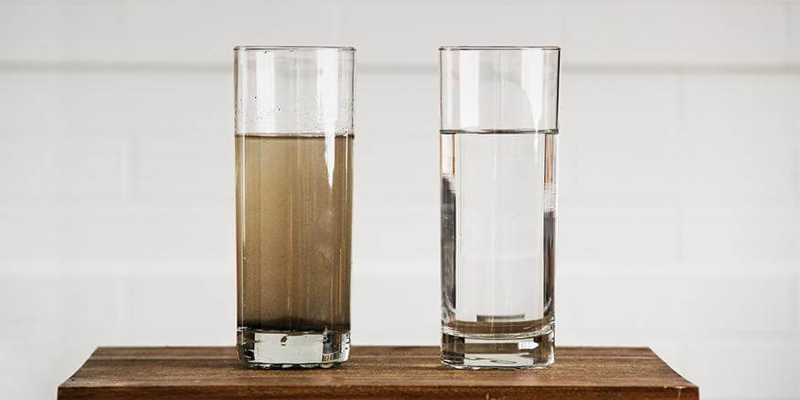 The water before the filter is compared with that after filtration