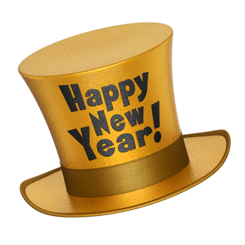 Happy New Year Gold Top hat
