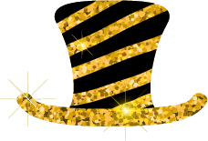 Black and Gold Striped Top hat