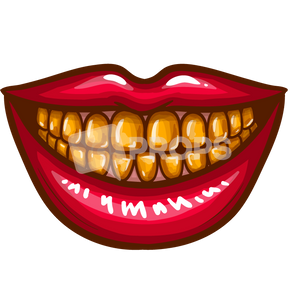 Mouth with Gold Teeth