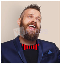Load image into Gallery viewer, Red and Black Striped Bowtie