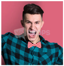 Load image into Gallery viewer, Red Zig Zag Bowtie