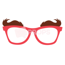 Load image into Gallery viewer, Red Glasses with Eyebrows