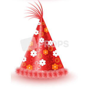 Red Flower Party Hat