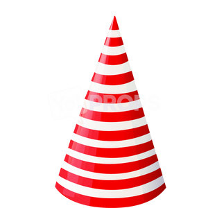 Red and White Striped Cone Hat