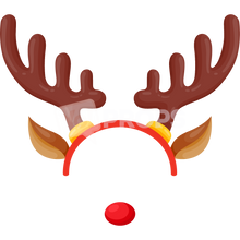Load image into Gallery viewer, Reindeer Headband with Nose 2