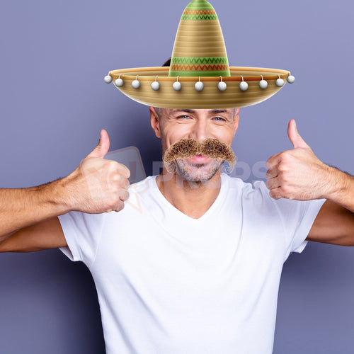 Sombrero Hat and Curly Mustache