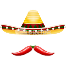 Load image into Gallery viewer, Sombrero Hat and Pepper Mustache