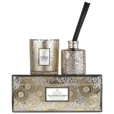 Gilt Pomander & Hinoki - Candle And Diffuser Gift Set