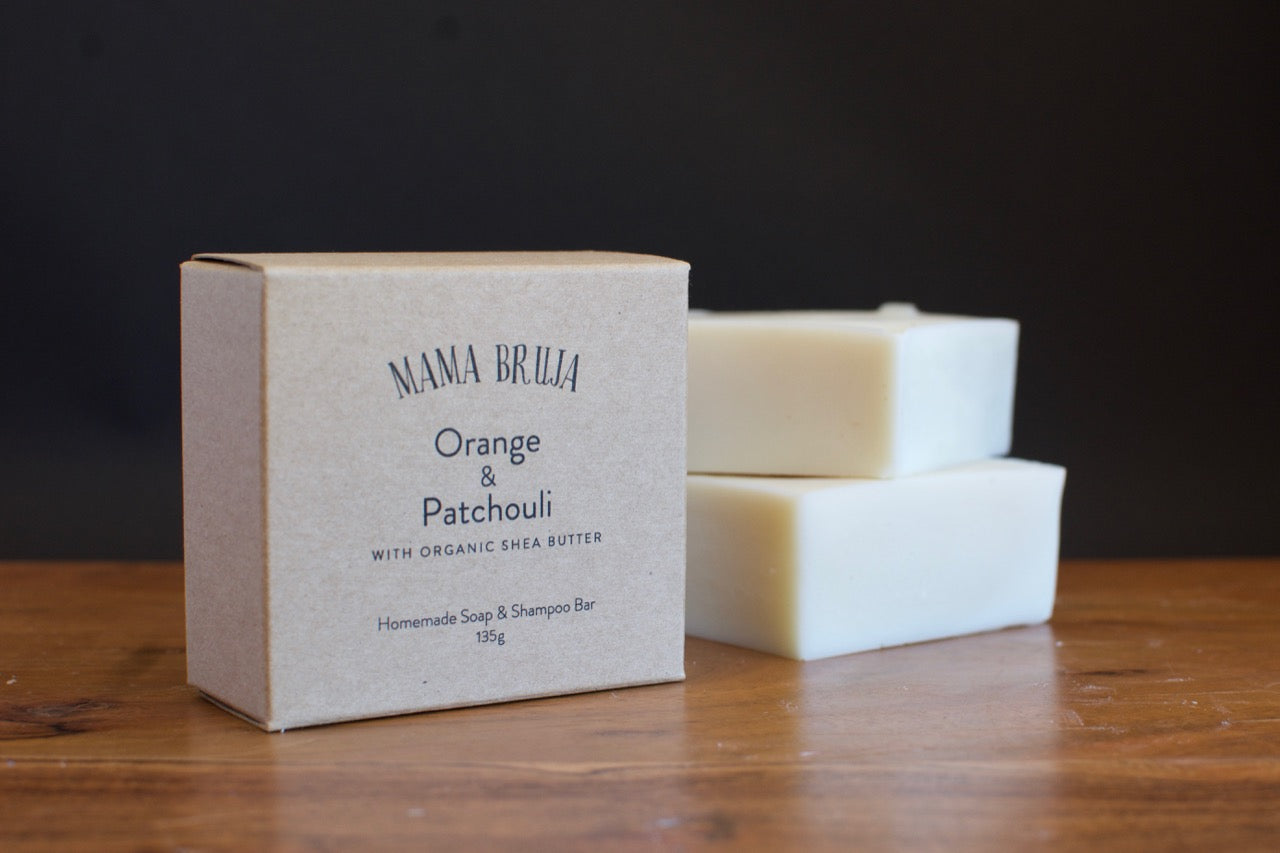 Large boxed orange and patchouli soap and shampoo bar