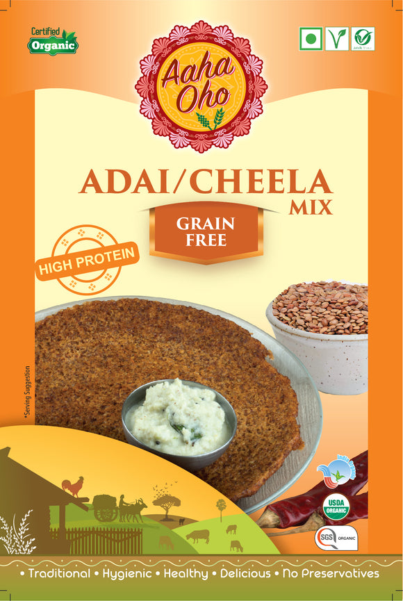 We present to you our healthy and guaranteed organic Grain-Free Adai Dosa Mix. They are both tasty and nutritional yet easy to cook. Just add the required amount of water to the mix and you are good to go. They are rich in proteins and vitamins. The Dosa Mix has Horsegram, Bengal Gram, Black Gram, Red Gram, Green Gram, Asafoetida, Chilli, and Rock salt.