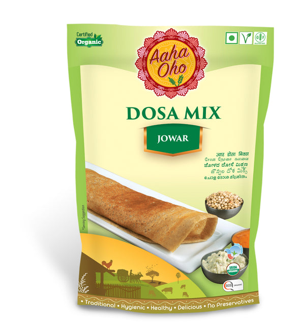 We have curated a special Organic Dosa Mix which contains Jowar or Sorghum. Millets are rich in micro-nutrients and are a replacement for rice and wheat. Jowar is also one of the most commonly used millets across various parts of India. Jowar is rich in fiber and Iron. High protein content, controls blood sugar levels, good for bone health, gluten-free.