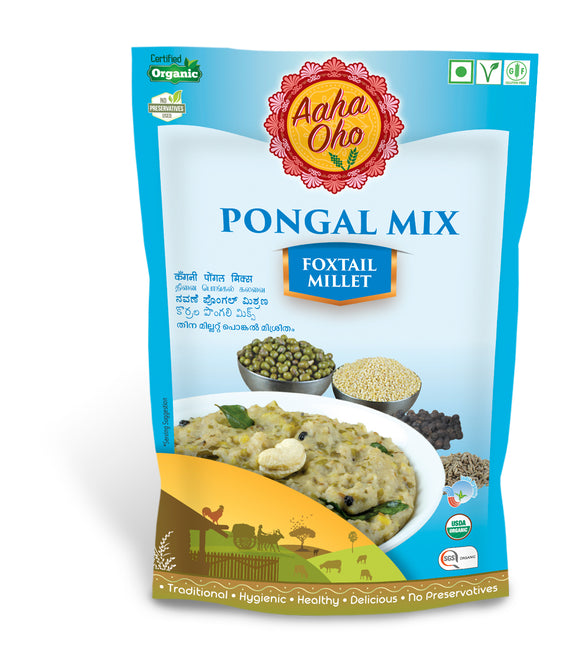 Pongal or more commonly called Huggi is a popular dish in South India. It is a traditional dish of rice mixed with boiled milk and sugar. We at Aaha Oho have replaced rice with Millets to make it more nutritional and healthy. This is a Pongal mix made from Foxtail Millet. Foxtail millet is rich in protein, good to control diabetics, keeps your digestive tract clean, reducing heart attack risk, high in antioxidants, helps in weight loss, and reduces gastric problems.