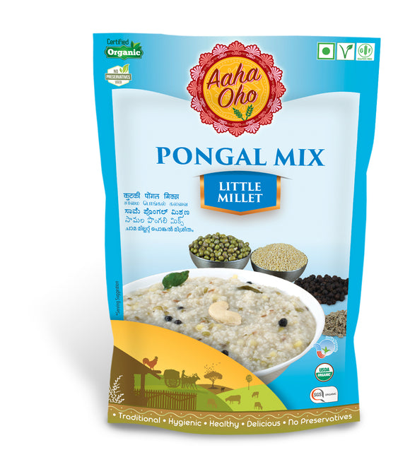 Pongal or more commonly called Huggi is a popular dish in South India. It is a traditional dish of rice mixed with boiled milk and sugar. We at Aaha Oho have replaced rice with Millets to make it more nutritional and healthy. This Pongal Mix is made with Little Millet. Little Millet helps lowers the risk of type 2 diabetes, reduces chances of heart attacks, improves digestion, protects from breast cancer, protects childhood asthma.
