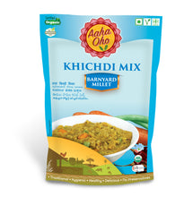 Load image into Gallery viewer, Millet Khichdi is a spicy variation of Rice khichdi. This is healthy but ultimate comfort food. Khichdi is prepared with Millets and Lentils. Adding a few vegetables with spicy tomato seasoning makes khichdi a complete meal. Usually, khichdi is served with yogurt/kadi, pickle, and papad.