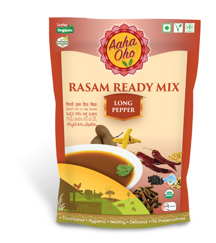 Rasam is a traditional South Indian dish that is an alternative to Sambar. It is a spicy-sweet-sour stock which includes several vegetables and spices. We have added Long Pepper to our Rasam. Long pepper also called 'Indian long pepper' is a flowering vine. It is are also called 'pippali'. The Health Benefits of Long pepper are it can cure Insomnia, Headache, Toothache, Heart problems, Piles, Insect bites, Obesity.