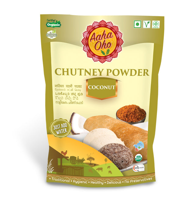 Everyone loves chutney and we too at AahaOho do so. So we created a series of healthy yet nutritious powders. One of our favorites includes the Coconut Chutney powder. You can eat it with idlis and dosas. It is excellent for your immunity. It helps treat infections like influenza, sore throat, etc.