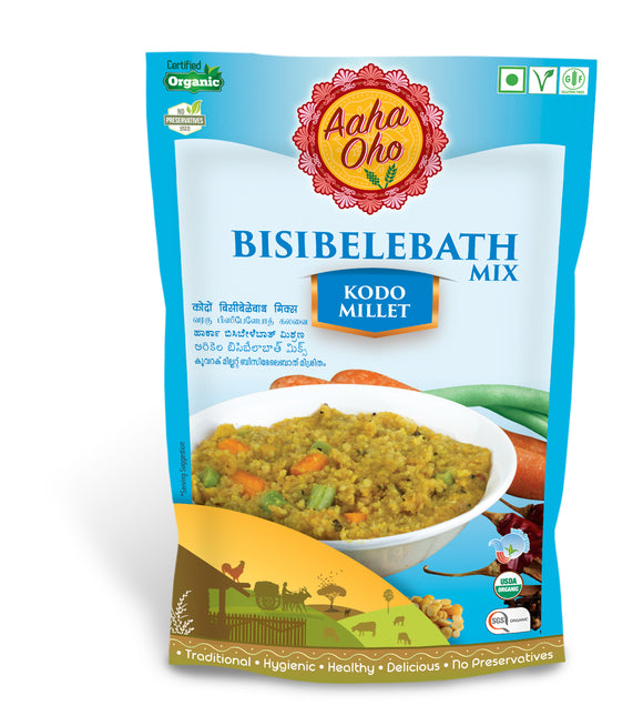 Enjoy the tasty and healthy variation of Bisibelebath! This Bbisibelebath is made with the best quality organic Kodo Millets. Kodo Millets are beneficial for postmenopausal women suffering from metabolic diseases like cardiovascular disease, high blood pressure, and high cholesterol levels. and controls your blood sugar.