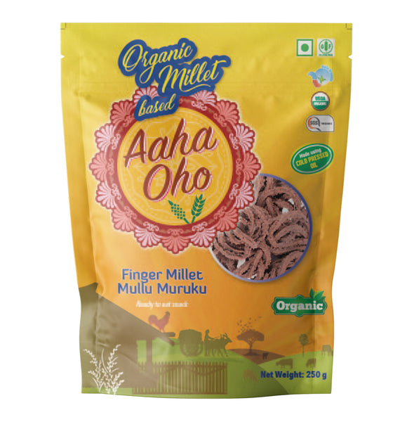 Who doesn't love snacks? But many of us fear eating them because of how unhealthy they are. We at Aaha Oho have tried to make it healthier by using Kodo Millet and  Finger Millet. Ragi or Finger Millet is the most common form of millet. Ragi is high in Calcium, high protein content, rich in minerals and antioxidants. Helps lose weight, good for bone health, and helps diabetes. Kodo millet is high in fiber and protein content, rich in B vitamins, gluten-free, and improves digestion.