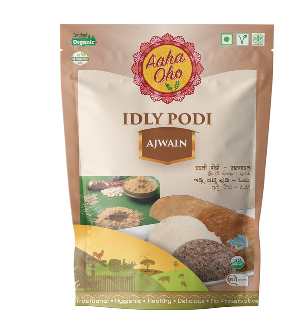 Podi's are the go to foods when it comes to eating Dosas and Idlis. Therefore we have curated special Podi's with different tastes and flavors. The Ajwain Organic Podi consists of Ajwain (Carom seeds), Bengal Gram, Black Urad Dal, Red Chillies, Mustard Seeds, Rock Salt. It's like an explosion of flavors in your mouth. It's very simple and easy to make and also healthy.
