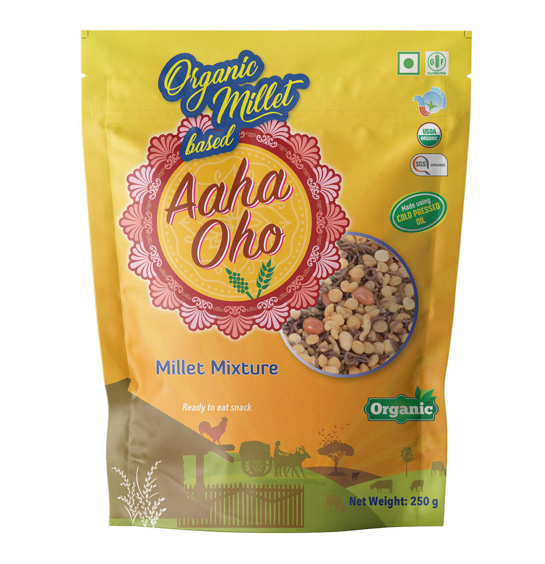 Who doesn't love to eat snacks? We understand your concern and have created a completely organic and healthy millet mixture containing several micronutrients in it. Millets absorb lesser oil and make the snack healthy. They collectively help us lower the risk of diabetes, reduce the chances of a heart attack. These are also high in fiber and a rich source of protein, calcium, phosphorus, and Vitamin B.