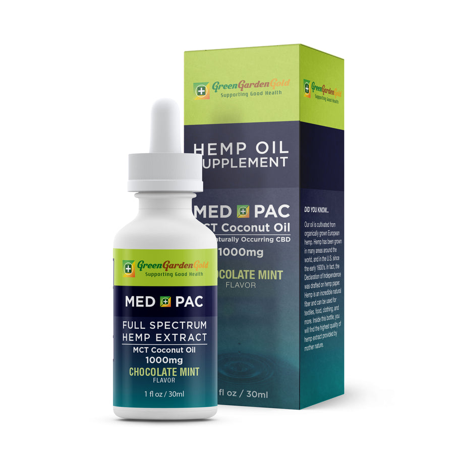 Green Garden Gold Med Pac Hemp CBD Tincture Chocolate Mint 1000mg