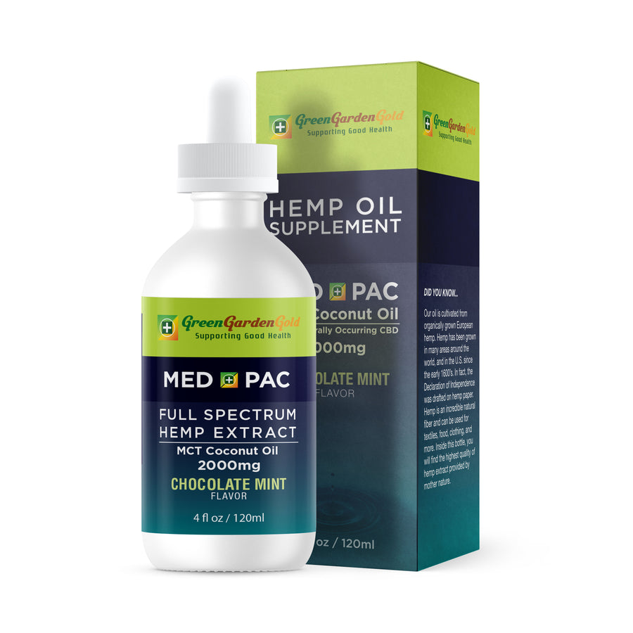 Green Garden Gold Med Pac Hemp CBD Tincture Chocolate Mint 2000mg