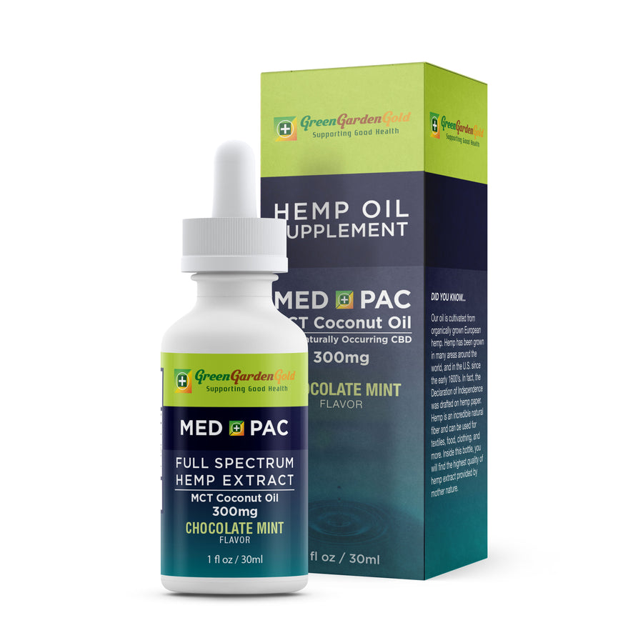 Green Garden Gold Med Pac Hemp CBD Tincture Chocolate Mint 300mg