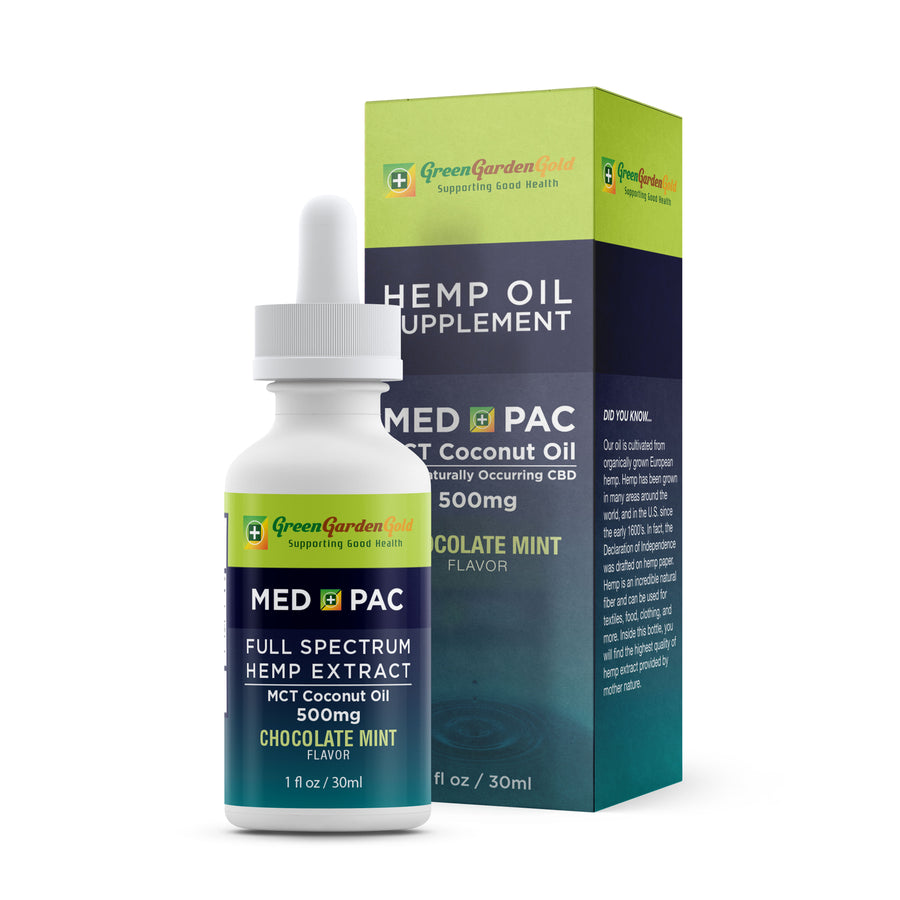 Green Garden Gold Med Pac Hemp CBD Tincture Chocolate Mint 500mg